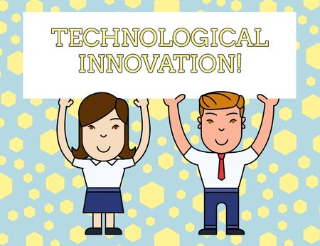 Word writing text Technological Innovation. Business photo showcasing New Invention from technical Knowledge of Product Two Smiling People Holding Big Blank Poster Board Overhead with Both Hands