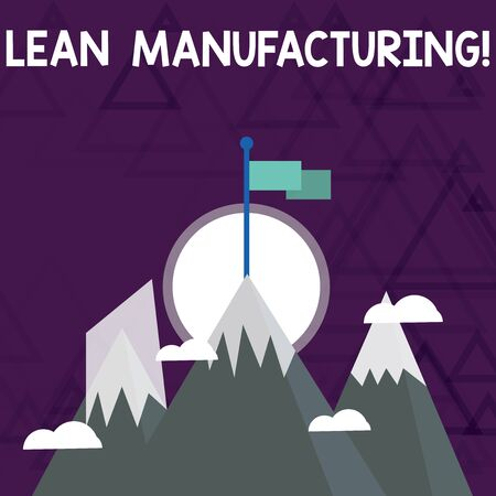 Conceptual hand writing showing Lean Manufacturing. Concept meaning Waste Minimization without sacrificing productivity Three High Mountains with Snow and One has Flag at the Peak