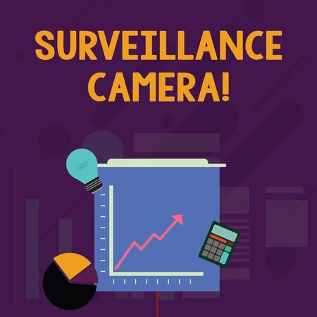Word writing text Surveillance Camera. Business photo showcasing Closed Circuit Television transmit signal on monitors Investment Icons of Pie and Line Chart with Arrow Going Up, Bulb, Calculator Standard-Bild - 124551343