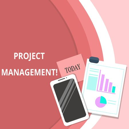 Handwriting text Project Management. Conceptual photo Application Process Skills to Achieve Objectives and Goal Layout Smartphone Off Sticky Notes Clipboard with Pie Chart and Bar Graph