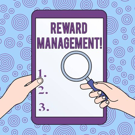 Conceptual hand writing showing Reward Performance. Concept meaning Appraisal Recognize workers Relative Worth to the company Hands Holding Magnifying Glass Against Switched Off Tablet Banco de Imagens - 124551380