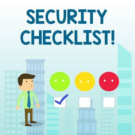 Word writing text Security Checklist. Business photo showcasing Protection of Data and System Guide on Internet Theft White Male Questionnaire Survey Choice Checklist Satisfaction Green Tick