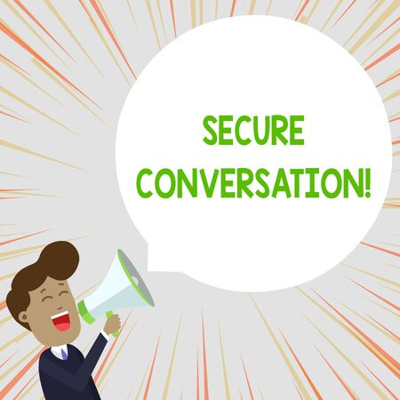Text sign showing Secure Conversation. Business photo text Secured Encrypted Communication between Web Services Young Man Shouting into Megaphone Floating Round Shape Empty Speech Bubble