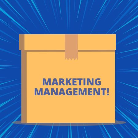 Writing note showing Marketing Management. Business concept for Develop Advertise Promote a new Product or Service Close up front view brown cardboard sealed box lid. Blank background