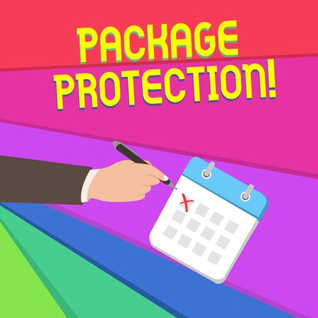 Handwriting text writing Package Protection. Conceptual photo Wrapping and Securing items to avoid damage Labeled Box Male Hand Formal Suit Crosses Off One Day Calendar Red Ink Ballpoint Pen Stockfoto