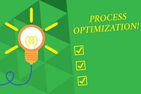 Word writing text Process Optimization. Business photo showcasing Improve Organizations Efficiency Maximize Throughput Big idea light bulb. Successful turning idea invention innovation. Startup