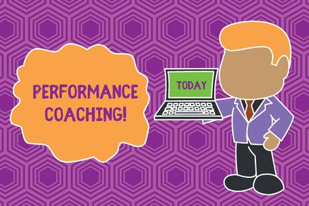 Text sign showing Performance Coaching. Business photo showcasing Facilitate the Development Point out the Good and Bad Standing professional businessman holding open laptop right hand side