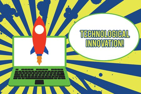 Text sign showing Technological Innovation. Business photo showcasing New Invention from technical Knowledge of Product Launching rocket up laptop . Startup project. Developing goal objectives Banco de Imagens
