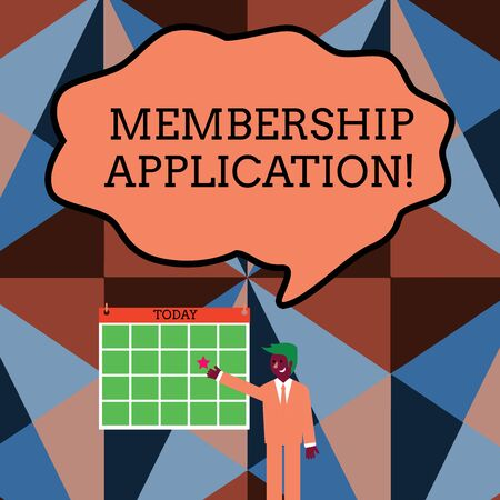 Writing note showing Membership Application. Business concept for Gateway to any organization to check if Eligible Businessman Smiling and Pointing Calendar with Star on Wall