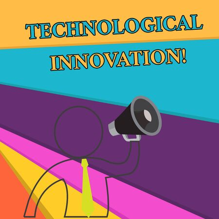 Handwriting text Technological Innovation. Conceptual photo New Invention from technical Knowledge of Product Outline Symbol Man Loudspeaker Making Announcement Giving Instructions Banco de Imagens