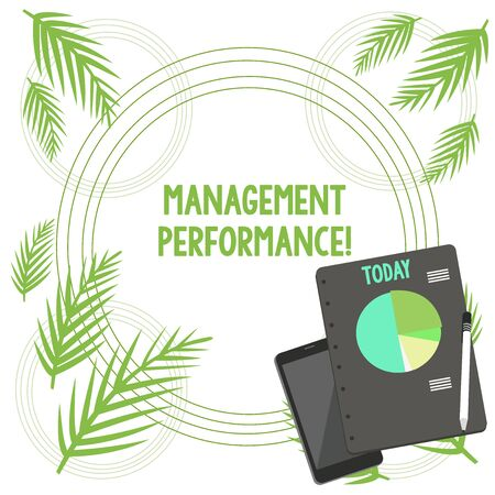 Writing note showing Management. Business concept for feedback on Managerial Skills and Competencies Layout Smartphone Off Ballpoint Notepad Business Pie Chart