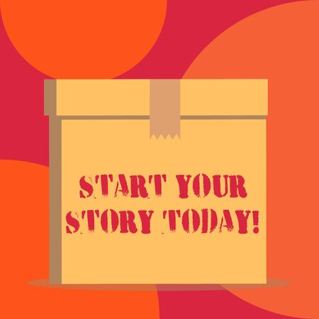 Text sign showing Start Your Story Today. Business photo showcasing work hard on yourself and begin from this moment Close up front view open brown cardboard sealed box lid. Blank background Foto de archivo