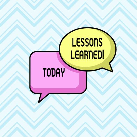 Handwriting text Lessons Learned. Conceptual photo experiences distilled project that should actively taken Pair of Overlapping Blank Speech Bubbles of Oval and Rectangular Shape
