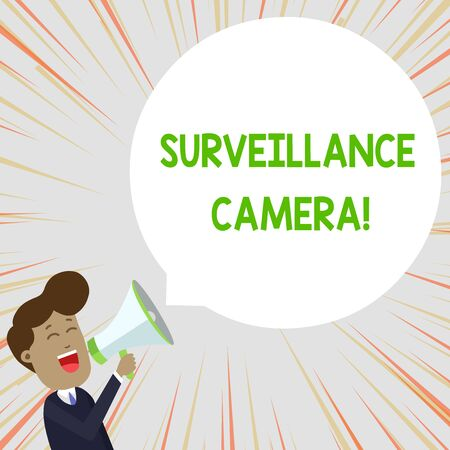 Text sign showing Surveillance Camera. Business photo text Closed Circuit Television transmit signal on monitors Young Man Shouting into Megaphone Floating Round Shape Empty Speech Bubble