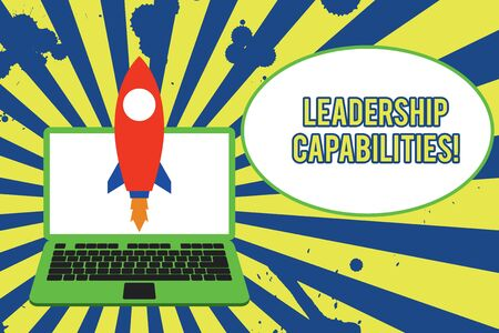 Text sign showing Leadership Capabilities. Business photo showcasing Set of Perforanalysisce Expectations a Leader Competency Launching rocket up laptop . Startup project. Developing goal objectives