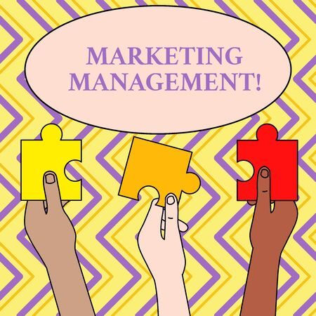 Writing note showing Marketing Management. Business concept for Develop Advertise Promote a new Product or Service Three Colored Empty Jigsaw Puzzle Pieces Held in Different People Hands
