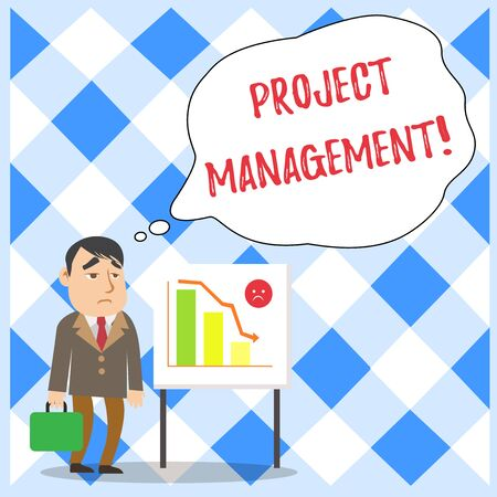 Word writing text Project Management. Business photo showcasing Application Process Skills to Achieve Objectives and Goal Businessman Clerk with Brief Case Standing Whiteboard Declining Bar Chart