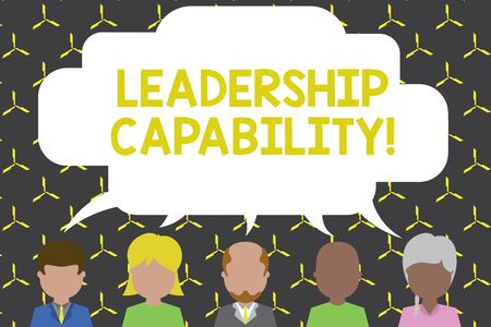 Handwriting text Leadership Capability. Conceptual photo what a Leader can build Capacity to Lead Effectively Five different races persons sharing blank speech bubble. People talking Stock fotó