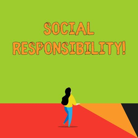 Word writing text Social Responsibility. Business photo showcasing Obligation for the Benefit of Society Balance in life Back view young long hair woman holding big blank square announcement