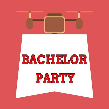 Writing note showing Bachelor Party. Business concept for Party given for a analysis who is about to get married Stag night Drone holding downwards banner. Geometrical abstract background design