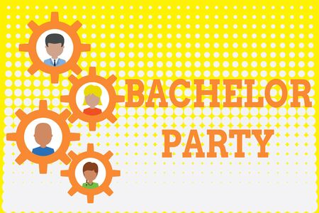 Conceptual hand writing showing Bachelor Party. Concept meaning Party given for a analysis who is about to get married Stag night Gearshaped picture frame family ornament Whole Family photo