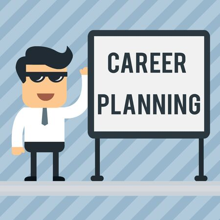 Writing note showing Career Planning. Business concept for Strategically plan your career goals and work success Office Worker Sunglass Blank Whiteboard Meeting Presentation 写真素材