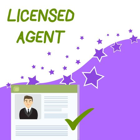 Text sign showing Licensed Agent. Business photo showcasing Authorized and Accredited seller of insurance policies Curriculum Vitae Resume of Young Male Candidate Marked by Colored Checkmark