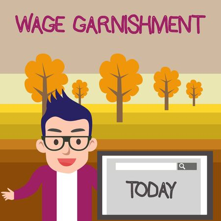 Text sign showing Wage Garnishment. Business photo text Deducting money from compensation ordered by the court Male Speaker Monitor with Search Tool on Screen Presentation or Report