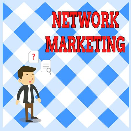 Handwriting text writing Network Marketing. Conceptual photo Pyramid Selling Multi level of trading goods and services Young Male Businessman Office Worker Standing Searching Problem Solution