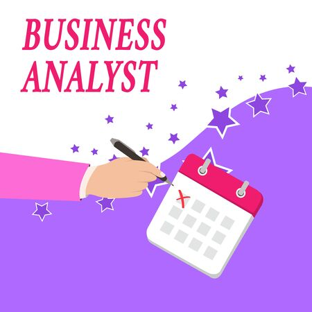 Text sign showing Business Analyst. Business photo text someone who analyzes big organization or website domain Male Hand Formal Suit Crosses Off One Day Calendar Red Ink Ballpoint Pen
