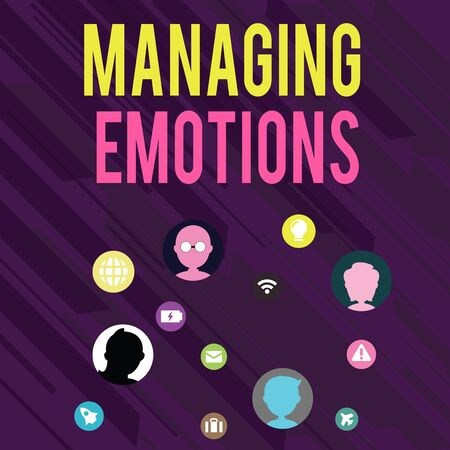 Conceptual hand writing showing Managing Emotions. Concept meaning Controlling feelings in oneself Maintain composure Networking Technical Icons Chat Heads on Screen for Link Up