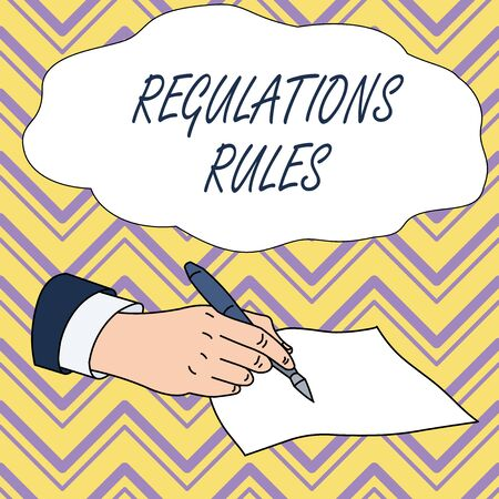 Conceptual hand writing showing Regulations Rules. Concept meaning Standard Statement Procedure govern to control a conduct Male Hand Formal Suit Holding Ballpoint Pen Piece of Paper Writing Banque d'images - 124644287