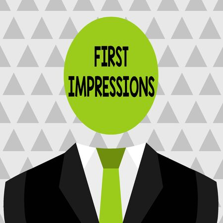Text sign showing First Impressions. Business photo showcasing What a demonstrating thinks of you when they first meet you Symbolic Drawing Emblematic Figure of Man Formal Suit Oval Faceless Head Imagens