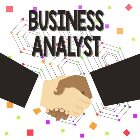 Text sign showing Business Analyst. Business photo text someone who analyzes big organization or website domain Hand Shake Multiracial Male Business Partners Colleagues Formal Black Suits