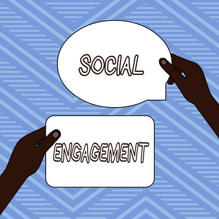 Handwriting text writing Social Engagement. Conceptual photo Degree of engagement in an online community or society Two Blank Figured Tablets Signs Held in Hands One Above Other Text Space
