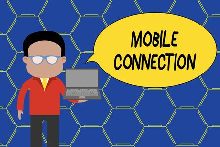 Conceptual hand writing showing Mobile Connection. Concept meaning Secure universal login solution using mobile phone Man in suit wearing eyeglasses holding open laptop photo Art