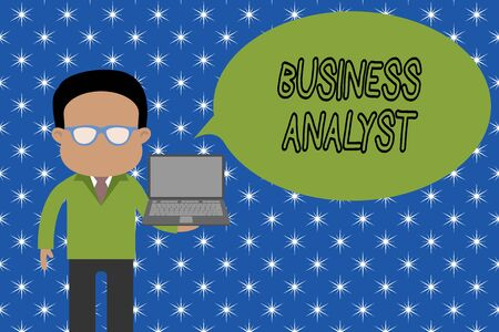 Text sign showing Business Analyst. Business photo showcasing someone who analyzes big organization or website domain Standing man in suit wearing eyeglasses holding open laptop photo Art