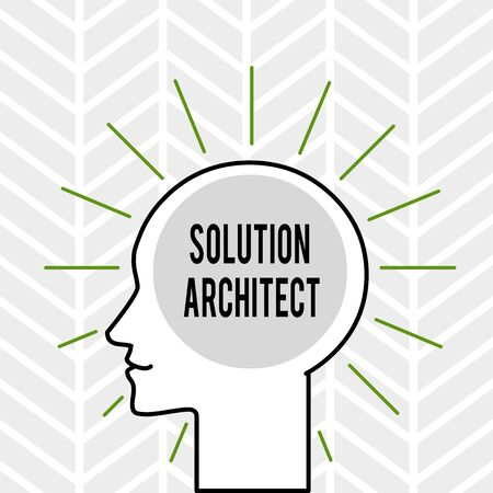 Handwriting text writing Solution Architect. Conceptual photo Design applications or services within an organization Outline Silhouette Human Head Surrounded by Light Rays Blank Text Space 版權商用圖片 - 124644420