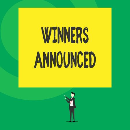 Word writing text Winners Announced. Business photo showcasing Announcing who won the contest or any competition Isolated view young man standing pointing upwards two hands big rectangle