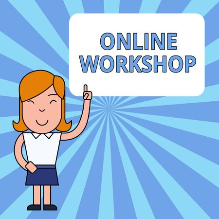 Writing note showing Online Workshop. Business concept for shows of goods and commodities over the electronic websites Woman Standing with Raised Left Index Finger Pointing at Blank Text Box Banque d'images