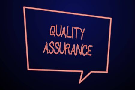 Word writing text Quality Assurance. Business photo showcasing Ensures a certain level of quality Established requirement Empty Quadrangular Neon Copy Space Speech Bubble with Tail Pointing Down