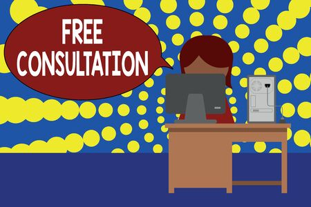 Word writing text Free Consultation. Business photo showcasing Giving medical and legal discussions without pay Young female working office sitting desktop computer office monitor photo