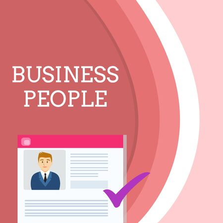 Handwriting text writing Business People. Conceptual photo People who work in business especially at an executive level Curriculum Vitae Resume of Young Male Candidate Marked by Colored Checkmark Stock Photo