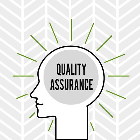 Handwriting text writing Quality Assurance. Conceptual photo Ensures a certain level of quality Established requirement Outline Silhouette Human Head Surrounded by Light Rays Blank Text Space Stok Fotoğraf