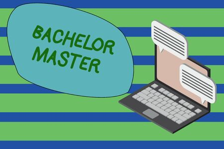 Writing note showing Bachelor Master. Business concept for An advanced degree completed after bachelor s is degree Laptop receiving sending information internet wireless