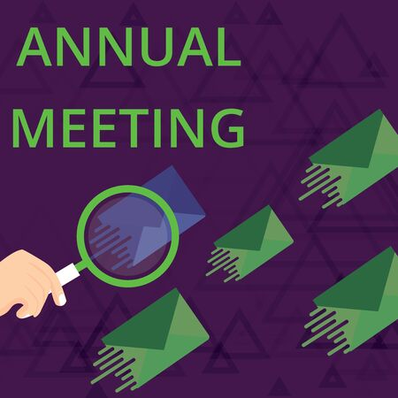 Text sign showing Annual Meeting. Business photo showcasing Yearly gathering of an organization interested shareholders Magnifying Glass on One Different Color Envelope and others has Same Shade