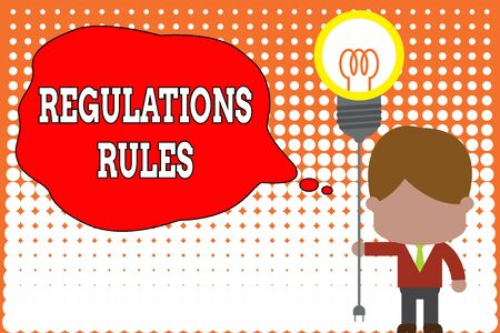 Handwriting text writing Regulations Rules. Conceptual photo Standard Statement Procedure govern to control a conduct Standing man tie holding plug socket light bulb to connect idea. Startup Banque d'images - 124645505