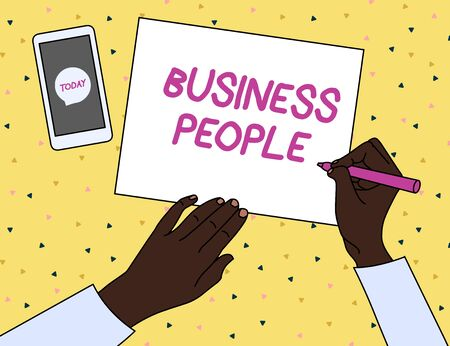 Word writing text Business People. Business photo showcasing People who work in business especially at an executive level Top View Man Writing Blank Paper Pen Pencil Marker Smartphone Message Icon