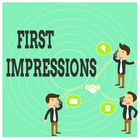 Conceptual hand writing showing First Impressions. Concept meaning What a demonstrating thinks of you when they first meet you Businessmen Coworker Conference Call Discussion Mobile Phone