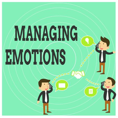 Conceptual hand writing showing Managing Emotions. Concept meaning Controlling feelings in oneself Maintain composure Businessmen Coworker Conference Call Discussion Mobile Phone